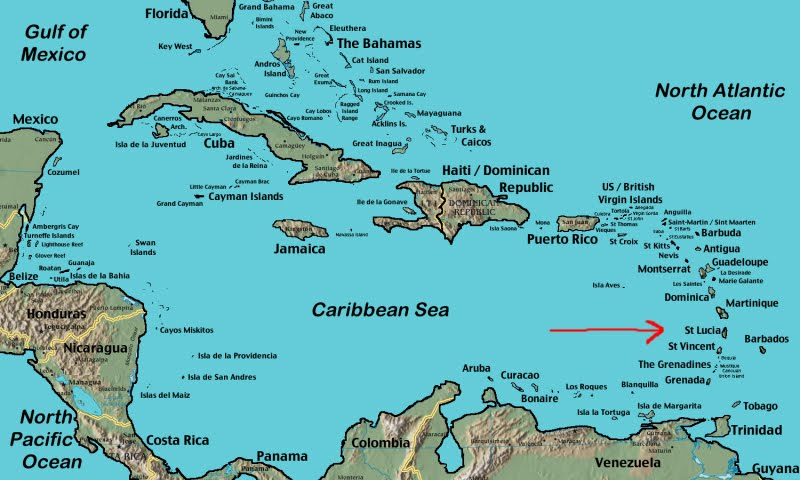 Location St Lucia In Caribbean: Facts 'O Fun
