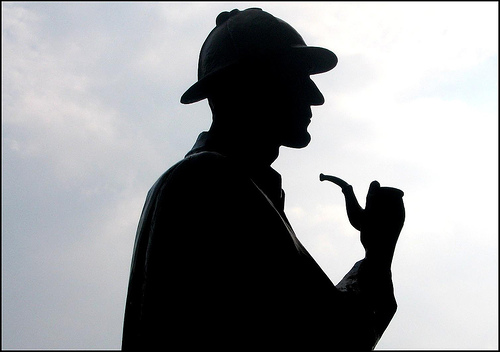 Holmes Silhouette with Signature Deer-stalker Hat and Pipe